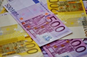 Euro notes representing the prosperous Irish economy