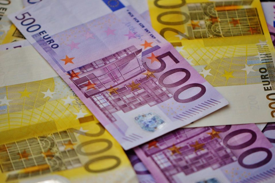 Euro notes representing the prosperous Irish economy